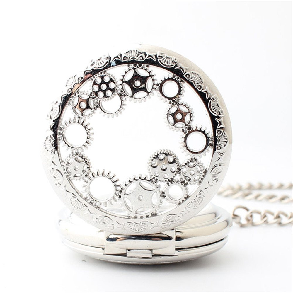 Zxcvlina Classic Smooth Exquisite Silvery Mechanical Pocket Watch Boutique Gear Carved Unisex Hollowed Retro Pocket Watch with Chain Suitable for Gift Giving by Zxcvlina (Image #5)