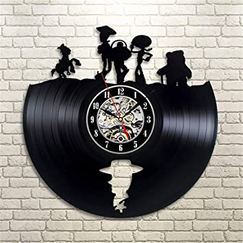 Reloj de Pared de Toy Story Hollow Vinilo Disco de Vinilo Grabado con láser Reloj de Corte 3D Arte Reloj de Pared: Amazon.es: Hogar