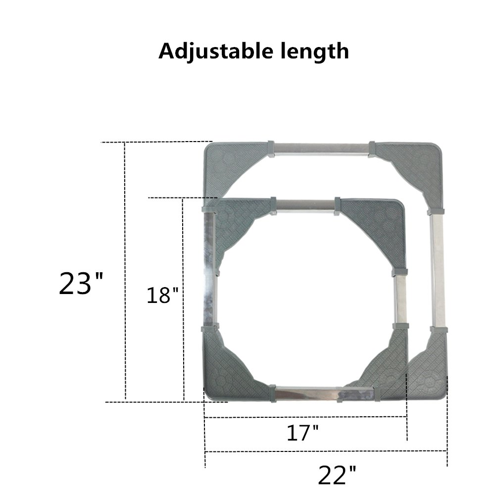 Adjustable Movable Base with 4Locking Rubber Swivel Wheels Size Adjustable Universal Machine Carriage for Washing Machine Dryer Refrigerator Cabinet by CJGQ (Image #2)
