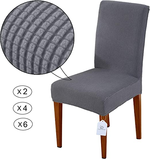 LUOLLOVE Chair Covers, Stretch Removable Washable Chair Covers for Dining Chairs, Dining Chairs Covers with Elastic Band for Home, Hotel, Banquet(2