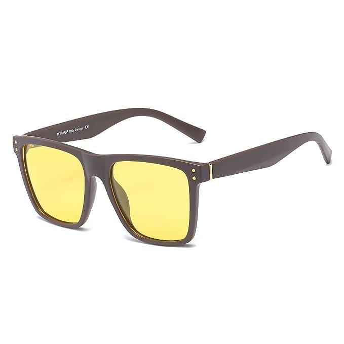 Grandes Gafas de HD Visión para Conduccion Nocturna Hombre Polarizadas Lente Amarilla Anti Reflectante Ultraligero Metal - Protección UV 400: Amazon.es: ...