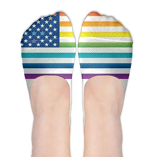 c2a2ec8247b84 Rainbow American Flag Gay Lesbian Pride Womens Cotton Casual Liner ...