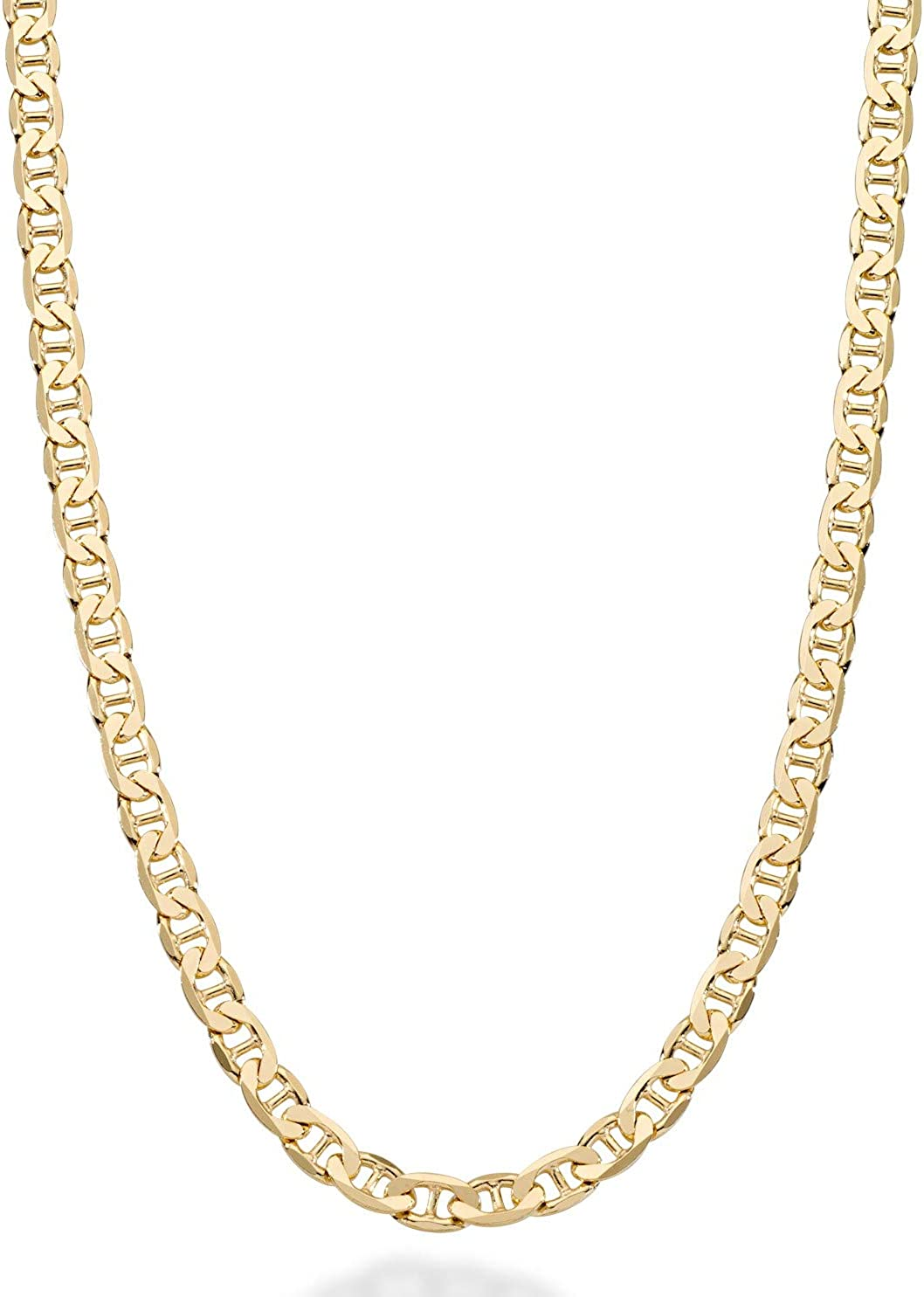 Miabella Solid 18K Gold Over Sterling Silver Italian 3mm, 4mm, 6mm Diamond-Cut Flat Mariner Link Chain Necklace for Women Men, 16-30 Inch 925 Italy