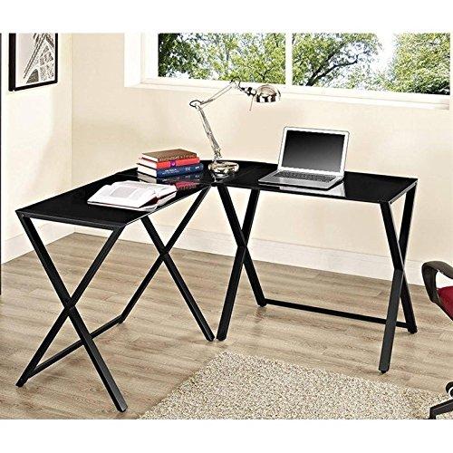 Black Glass Computer Desk - WE Furniture Elite Soreno Glass Corner Computer Desk, Black