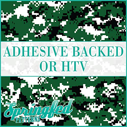 Digital CAMO Pattern in FOREST GREEN & BLACK Camouflage Heat Transfer or Adhesive Vinyl CHOOSE YOUR SIZE!