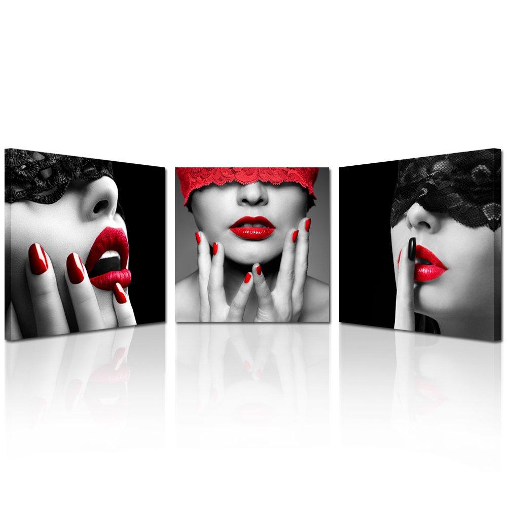 Kreative Arts – 3 Pieceセクシーな唇Prints Painting Mordenキャンバスアートホーム装飾壁リビングルーム用ブラックレッド画像フレームをハングアップする準備 20x20inchx3pcs 8870 B06Y41YDGZ 20x20inchx3pcs 20x20inchx3pcs