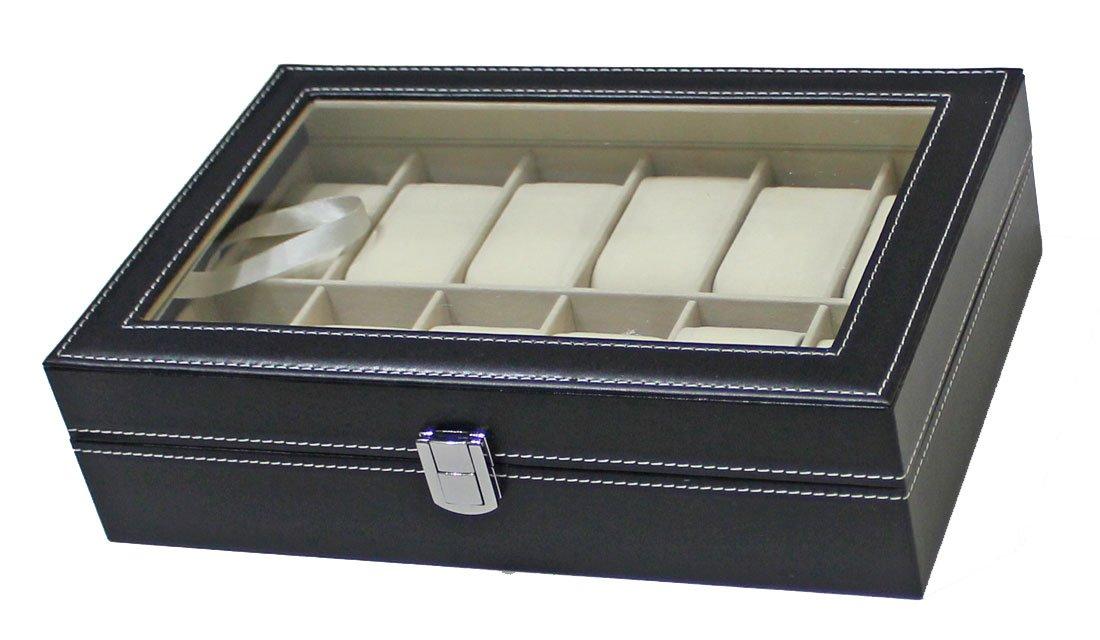 12 Slots Watch Box Black PU Leather Display Glass Top Jewelry Case Organizer (10 Slots Box)