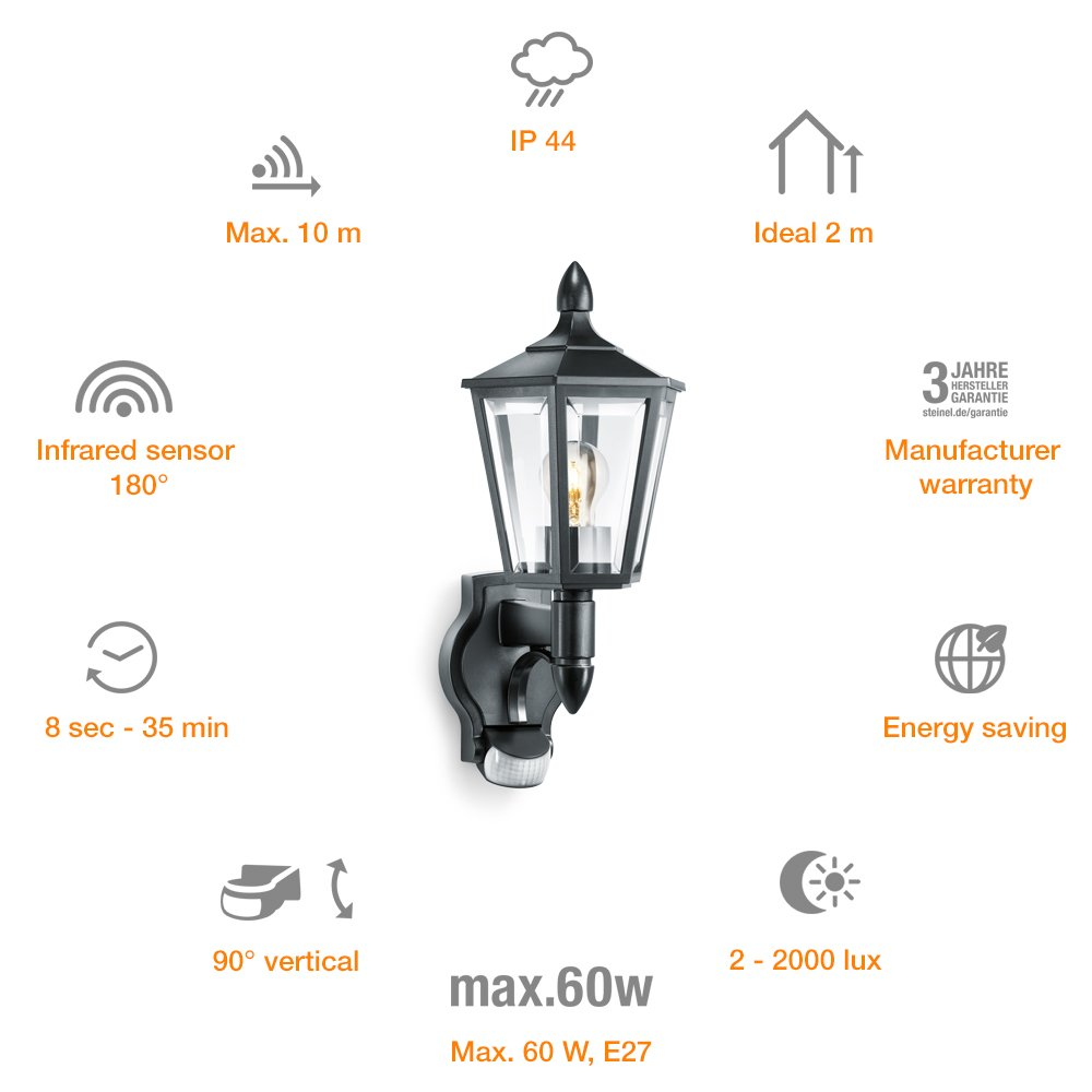 Steinel L 15 negro - Farol de pared exterior con 180° detector de movimiento, Farolillo Sensor con potencia de máx. 60 vatios, Iluminación de exterior, ...