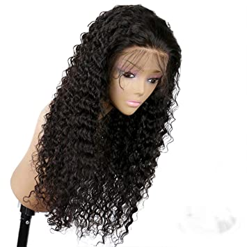 Amazon.com   Lwigs Lace Front wig kinky curly human hair wigs for black women  brazilian virgin hair wigs glueless pre-plucked with baby hair (16inch,lace  ... 4e2d9bb1a