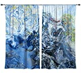 Abstract art draperies, set with two 50''x84'' panels in blue and green, Liquid Assets