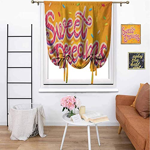 Sweet Dreams Room Darkened Roman Curtain Hand Drawn Composition of Candies with Lettering Design on Warm Background Room Darkened W48 x L64 Inch Multicolor