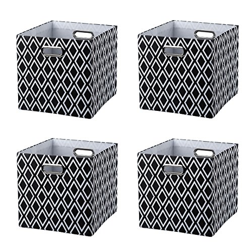 Baist canvas storage cubes,pretty black and white square collapsible bed storage bins for kids toys books, set of 4