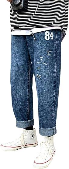[YUNHEN]デニムパンツ メンズ ジーンズ ゆったり ワイドパンツ デニム カジュアル ジーパン ロング丈 ストレート Gパン ファッション プリント ズボン