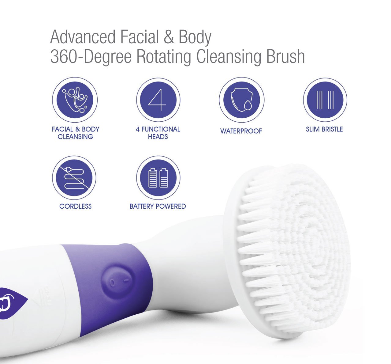 Pursonic FC180 Advanced Facial & Body 360 Spin Cleansing Brush, Purple Apivita - Express Gold Brightening Face Scrub with Bilberry -6x(2x8ml)