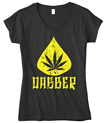 Cybertela Women's Marijuana Dabber, Weed Cannabis 420 Fitted V-neck T-shirt (Black, Large)