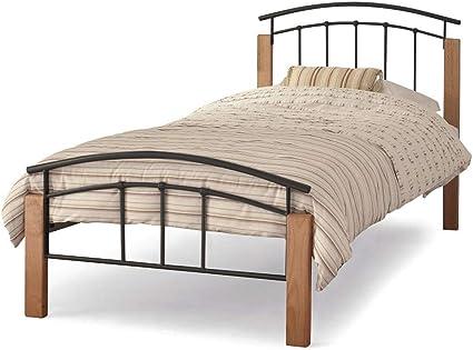 Somier para cama doble pequeña de 1,2 m, de Tetras, de color negro, con base de listones de madera de haya con muelles