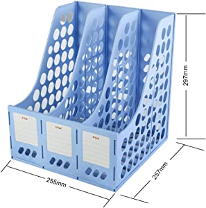 Eagle Magazine File Book Holder, Desktop Document Divider Organizer, 3-Compartment, Plastic (Blue)