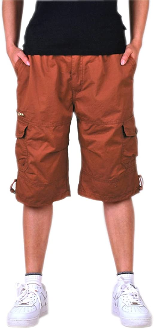 GUSER Mens Summer Elastic Waist Baggy Cotton Cargo Shorts Red Brown 34