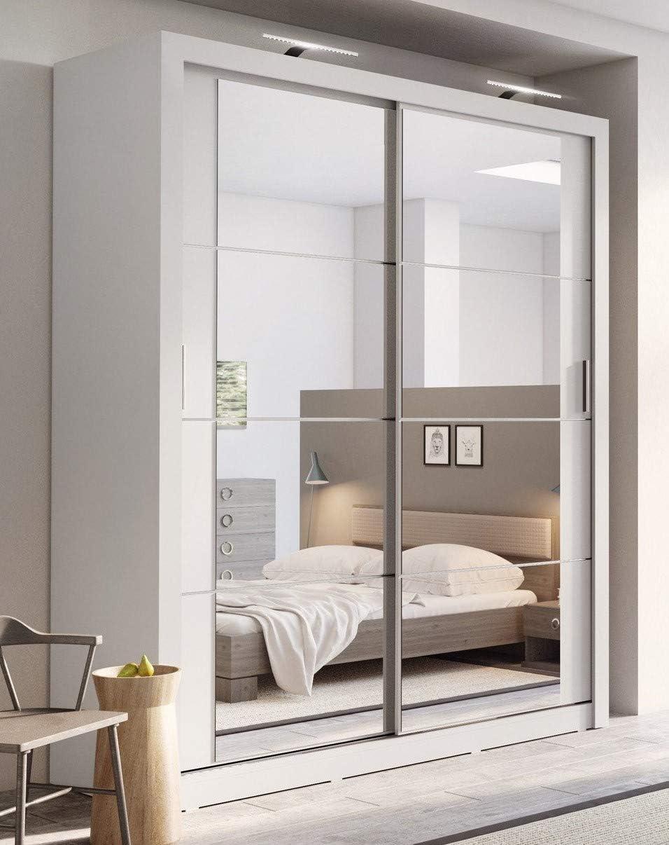 Armario con puertas correderas con espejos en color blanco mate ...