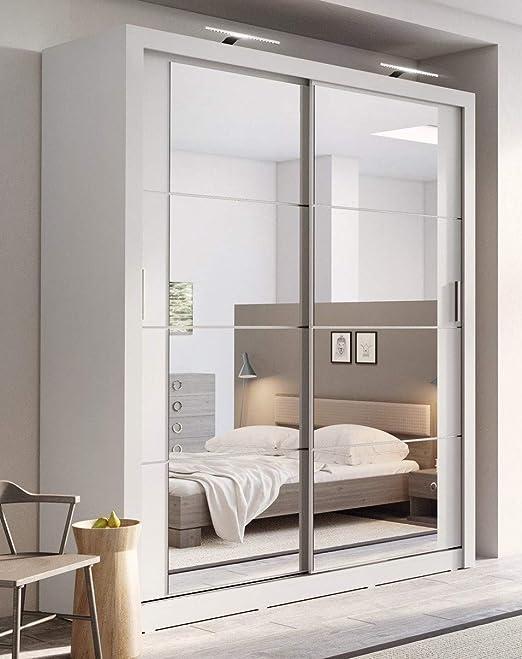 Armario con puertas correderas con espejos en color blanco mate, de 180 cm, de Arthauss (armario sin LEDs): Amazon.es: Hogar