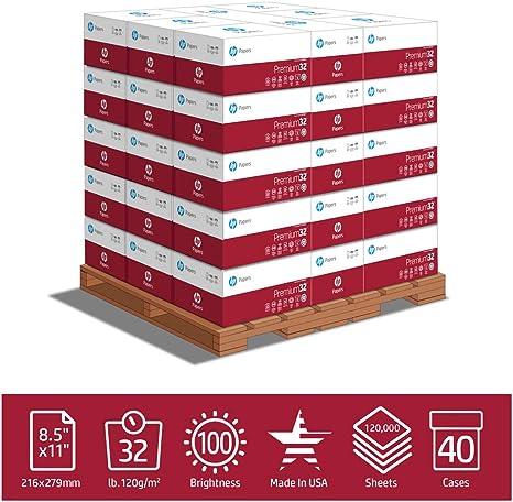 HP - Papel de impresora, premi32, 8,5 x 11, carta, 32 lb, 100 ...