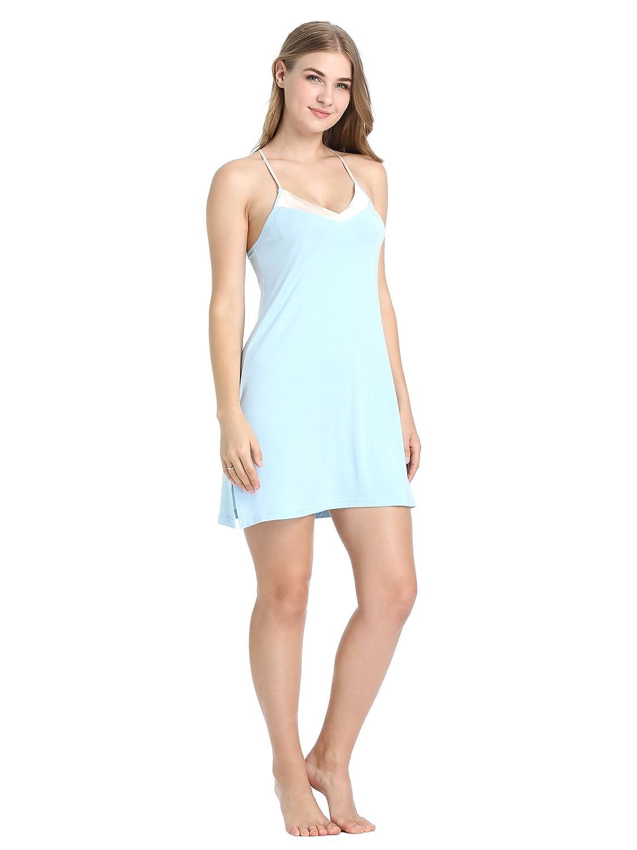 bluee Joyaria Women's Super Soft Nightgown Sexy Chemise Comfortable Nighties Cute Sleep Dress