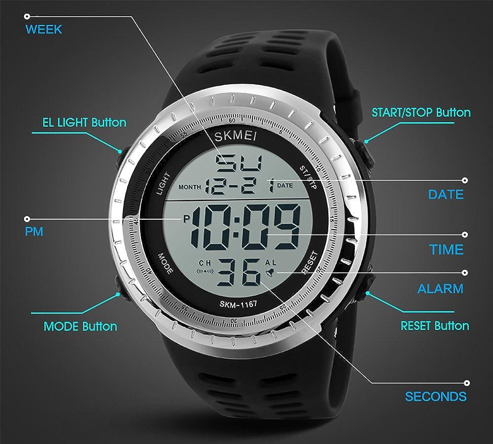 Amazon.com: Watches for Men Black Cool Sports Tactical Digital Waterproof Watches Relojes de Hombre: Watches