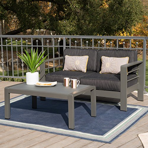 Great Deal Furniture Cybele Doris Outdoor Grey Aluminum Loveseat and Coffee Table Set with Dark Grey Water Resistant Cushions