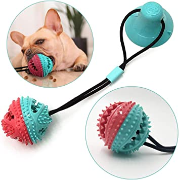 onebarleycorn Durable Dog Tug Rope Ball Toy with Suction Cup,Dog Chew Toy Treat Training Ball Puppy Dental Care Teeth Cleaning