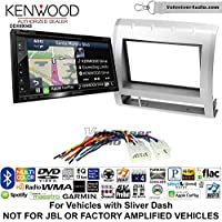 Volunteer Audio Kenwood Excelon DNX694S Double Din Radio Install Kit with GPS Navigation System Android Auto Apple CarPlay Fits 2005-2011 Non Amplified Toyota Tacoma (Light Silver)