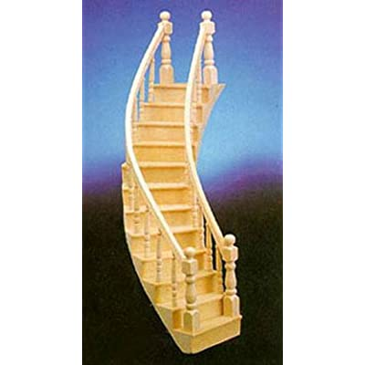 Dollhouse Miniature Assembled Right-Curve Staircase: Toys & Games