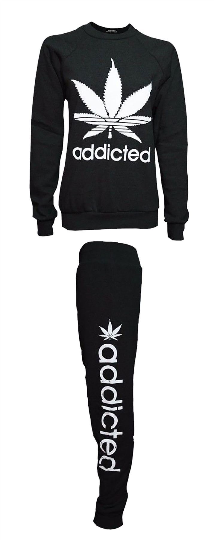 Ladies Love Addicted Weed Cannabis Print Leaf Sweat Suit Womens 2 PC Tracksuit#(Black Addicted Print 2 Pc Tracksuit#US 10-12#Womens)