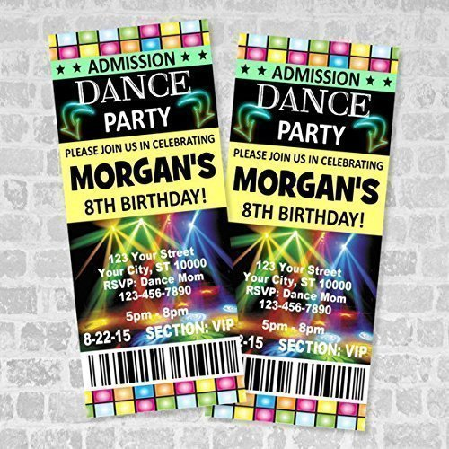 AmazonCom Dance Party Ticket Invitations Custom Boy Or Girl Disco
