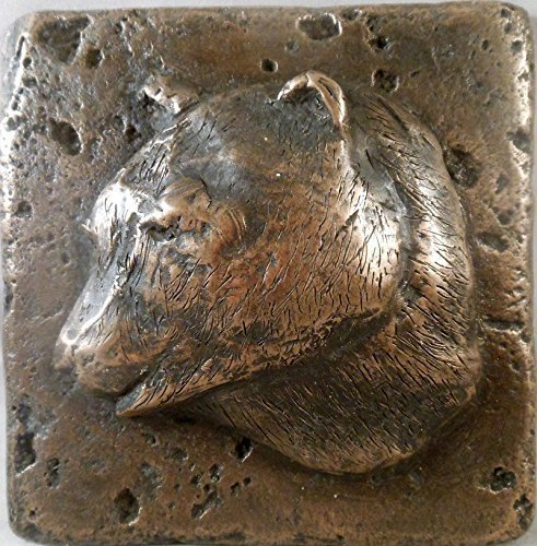 "Bronze Wildlife (Bear) 4""x4"" Decorative Wall Tile by Metal Tile Arts Mfg."