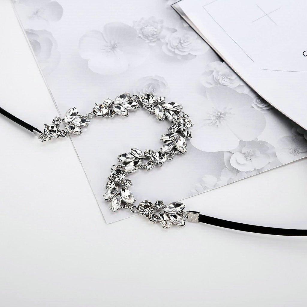 Aooaz Alloy Collar Choker Womens Necklaces Velvet Leather Lace Gothic CZ Round Leaf Wrap Black White
