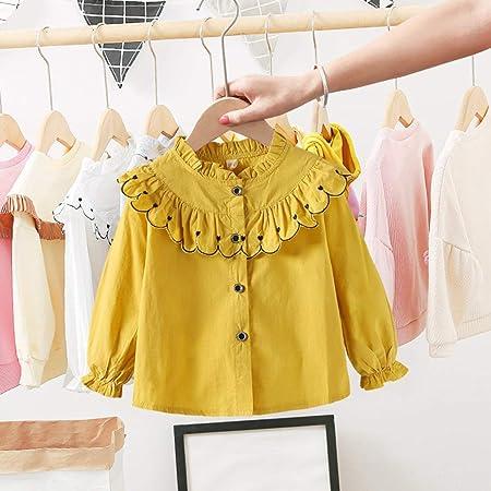 zhouweiwei Camisa de Primavera para niñas Cuello de Encaje Coreano Camisa Casual de Manga Larga Camisa Femenina de bebé extranjera Marea: Amazon.es: Hogar