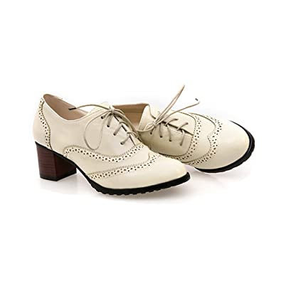 sale retailer f791e 0430a Bdawin Brogue Schnürhalbschuhe Damen Vintage PU Leder Mid ...
