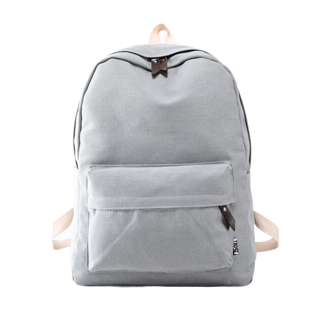 Kingfansion Female canvas bag girl backpack travel leisure sports backpack laptop shoulder bag (Gray)