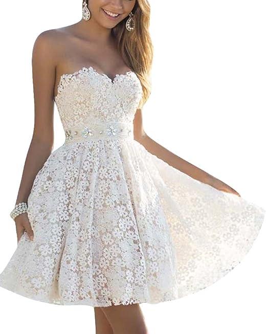 Mini Vestido de Noche Corto de Mujer sin Espalda Encaje Cóctel Vestido de Fiesta Blanco S