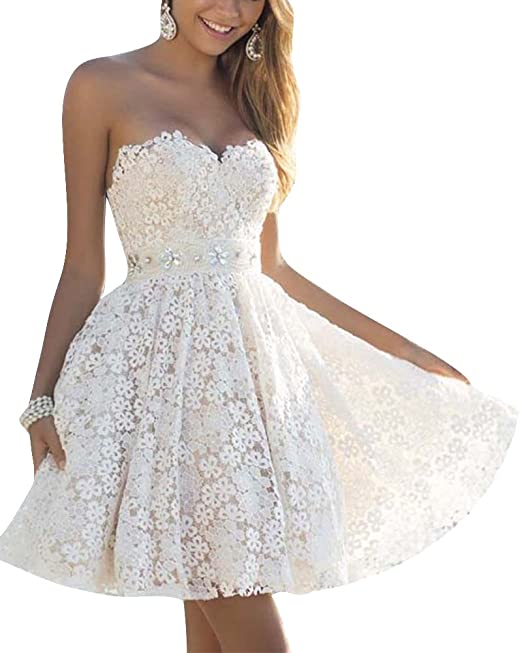 ZhuiKun Mini Vestido de Noche Corto de Mujer sin Espalda Encaje Cóctel Vestido de Fiesta Blanco