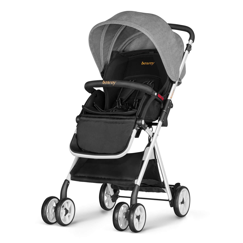 besrey Baby Stroller Foldable Infant Pushchair with Adjustable Backrest - Gray