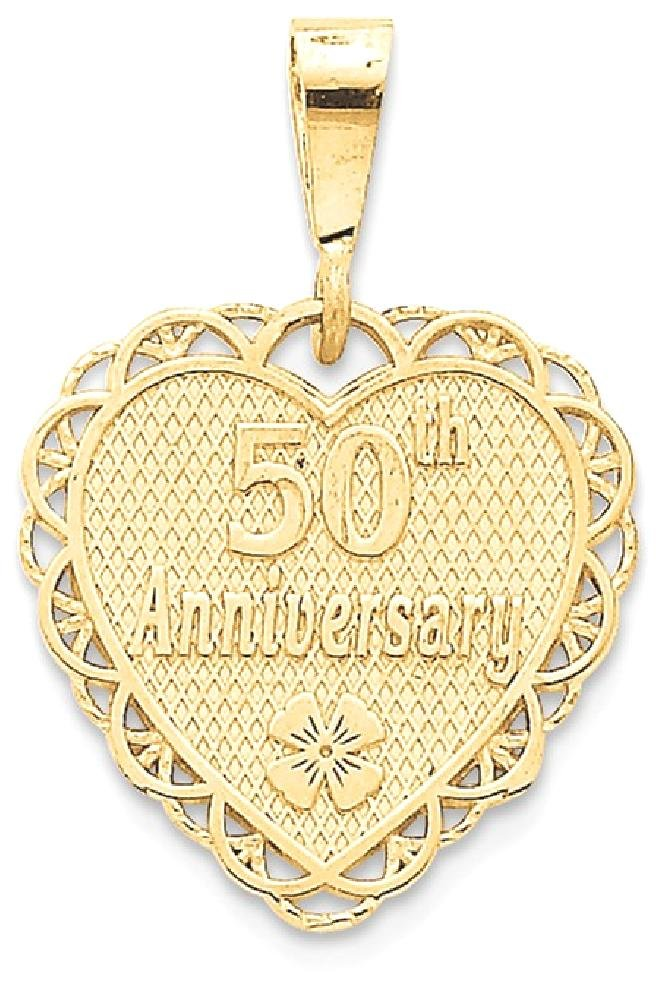 ICE CARATS 14k Yellow Gold 50th Anniversary Pendant Charm Necklace Special Day Fine Jewelry Gift Set For Women Heart