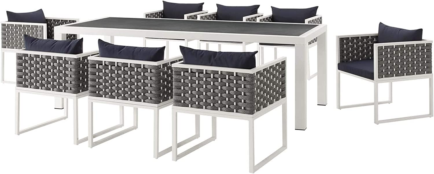 Modern Outdoor Patio Furniture Dining Chair and Table Set, Aluminum Fabric, Navy Blue White