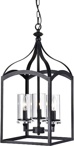 Edvivi 3-Light Antique Black Lantern Pendant Chandelier Ceiling Fixture with Glass Shade Modern Farmhouse Lighting