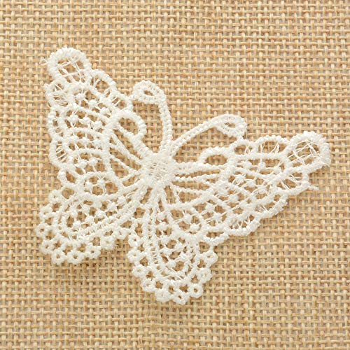 (30 Pc Butterfly Pattern Embroidery Decorative Decals Sewing DIY Craft Project Decorative Lace)