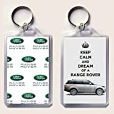 """KEEP CALM and DREAM of A RANGE ROVER keyring printed on an image of a 2013 Range Rover on one side and the Land Rover badge on the other, from our Keep Calm and Carry On series - an original """"sorry I couldn't get you the real thing"""" Birthday or Christmas stocking filler Gift Idea."""