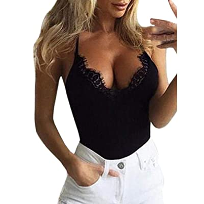 ????Clearance! Women Tank Top Blouse Sleeveless Lace Sexy Deep V Neck Short Mini Vest T-Shirt Blouse Pure Color Vest (Black, XL)