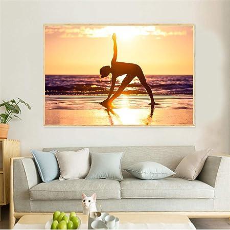 HANTAODG Impresión De La Lona Cartel De Deporte Yoga Girl ...