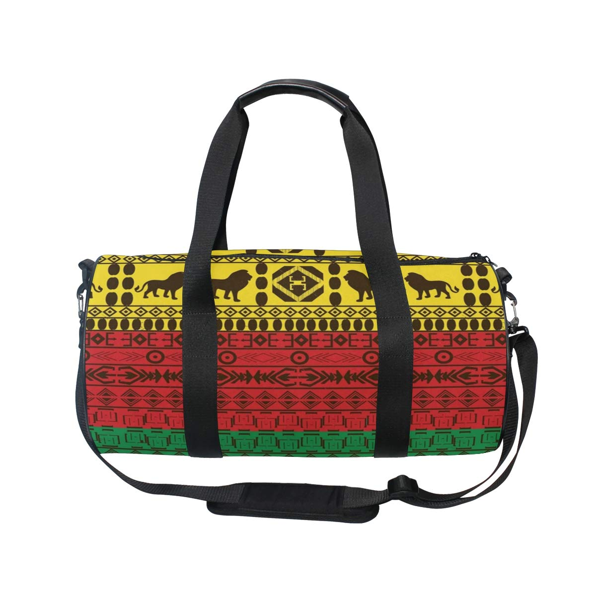 Gym Bag African Traditional Lions Travel Weekender Duffel Bag for Man and Woman