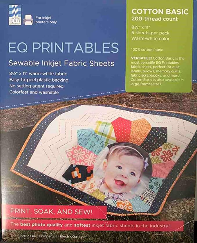 photo regarding Printable Fabric Labels named EQ Printables Inkjet Cloth Sheets,1 Pack
